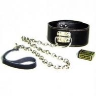 Wide collar with leash, black