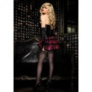 Lace trimmed striped satin bustle skirt with ribbon ties, pink/b