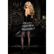 Lace trimmed striped satin bustle skirt with ribbon ties, wh/bl