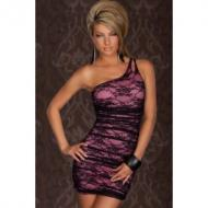 Elegant Mini Dress in A Sexy One-shoulder Style Pink
