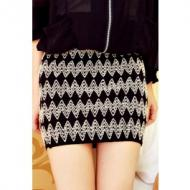 Sexy Vintage Wave Embroidery Knit Package Hip-Hame