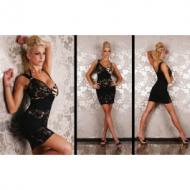 Leopard One Shoulder Party Mini Dress with Lace